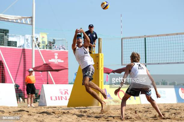 Cole Durant and Zachery Schubert of Australia in action during the match against Dries Koekelkoren and Tom van Walle of Belgium on Day 3 of 2017 FIVB...