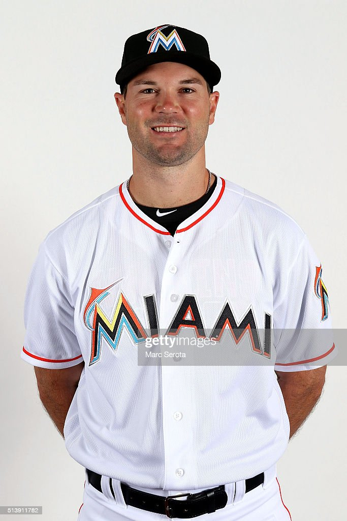 Cole Gillespie of the Miami Marlins poses for photos on media day at Roger Dean Stadium on February 24, 2016 in Jupiter, Florida.