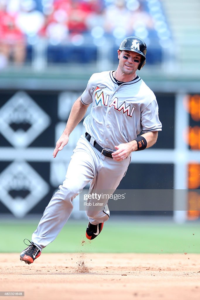 Cole Gillespie #28 of the Miami Marlins runs during the game against the Philadelphia Phillies at Citizens Bank Park on July 19, 2015 in Philadelphia, PA. The Phillies defeated the Marlins 8-7.