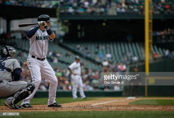 Cole Gillespie of the Seattle Mariners bats against the San Diego Padres at Safeco Field on June 17 2014 in Seattle Washington