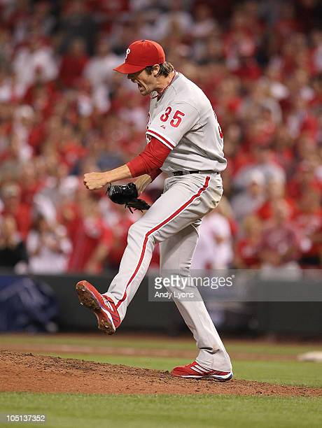 Cole Hamels of the Philadelphia Phillies celebrates a complete game shutout against the Cincinnati Reds during Game 3 of the NLDS at Great American...