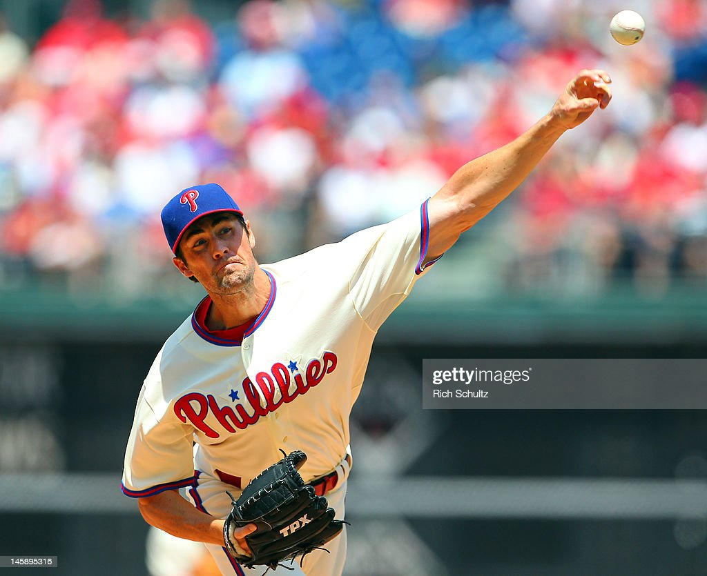 <a gi-track='captionPersonalityLinkClicked' href=/galleries/search?phrase=Cole+Hamels&family=editorial&specificpeople=565675 ng-click='$event.stopPropagation()'>Cole Hamels</a> #35 of the Philadelphia Phillies delivers a pitch against the Los Angeles Dodgers in a MLB baseball game on June 7, 2012 at Citizens Bank Park in Philadelphia, Pennsylvania.