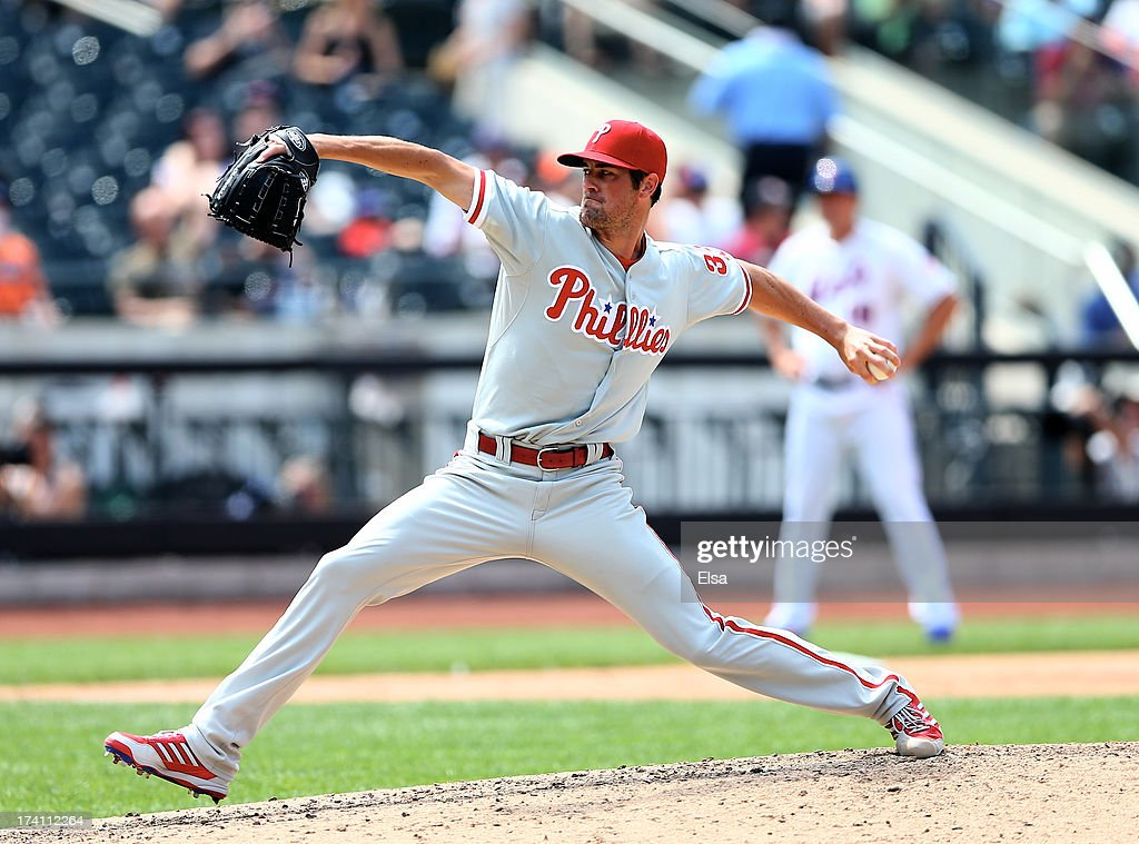<a gi-track='captionPersonalityLinkClicked' href=/galleries/search?phrase=Cole+Hamels&family=editorial&specificpeople=565675 ng-click='$event.stopPropagation()'>Cole Hamels</a> #35 of the Philadelphia Phillies delivers a pitch in the third inning against the New York Mets on July 20, 2013 at Citi Field in the Flushing neighborhood of the Queens borough of New York City. The New York Mets defeated the Philadelphia Phillies 5-4.