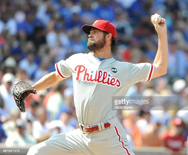 Cole Hamels of the Philadelphia Phillies pitches against the Chicago Cubs during the first inning on July 25 2015 at Wrigley Field in Chicago Illinois