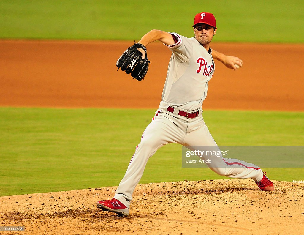 <a gi-track='captionPersonalityLinkClicked' href=/galleries/search?phrase=Cole+Hamels&family=editorial&specificpeople=565675 ng-click='$event.stopPropagation()'>Cole Hamels</a> #35 of the Philadelphia Phillies pitches against the Miami Marlins at Marlins Park on September 30, 2012 in Miami, Florida.