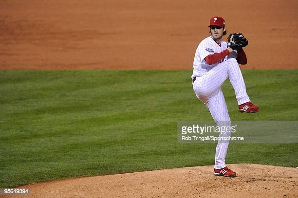 Cole Hamels of the Philadelphia Phillies pitches against the New York Yankees in Game Three of the 2009 MLB World Series at Citizens Bank Park on...
