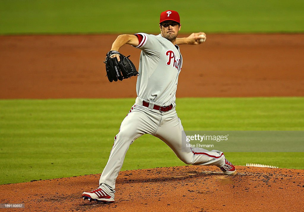 <a gi-track='captionPersonalityLinkClicked' href=/galleries/search?phrase=Cole+Hamels&family=editorial&specificpeople=565675 ng-click='$event.stopPropagation()'>Cole Hamels</a> #35 of the Philadelphia Phillies pitches during a game against the Miami Marlins at Marlins Park on May 20, 2013 in Miami, Florida.