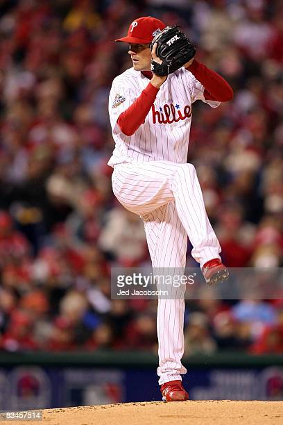 Cole Hamels of the Philadelphia Phillies throws a pitch against the Tampa Bay Rays during game five of the 2008 MLB World Series on October 27 2008...