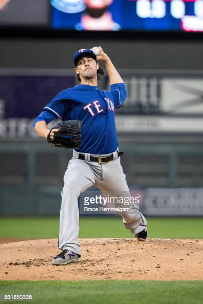 Cole Hamels of the Texas Rangers pitches against the Minnesota Twins on August 5 2017 at Target Field in Minneapolis Minnesota The Rangers defeated...