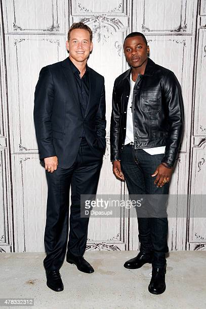 Cole Hauser and Derek Luke attend AOL Build Presents Actors Derek Luke and Cole Hauser at AOL Studios In New York on June 24 2015 in New York City