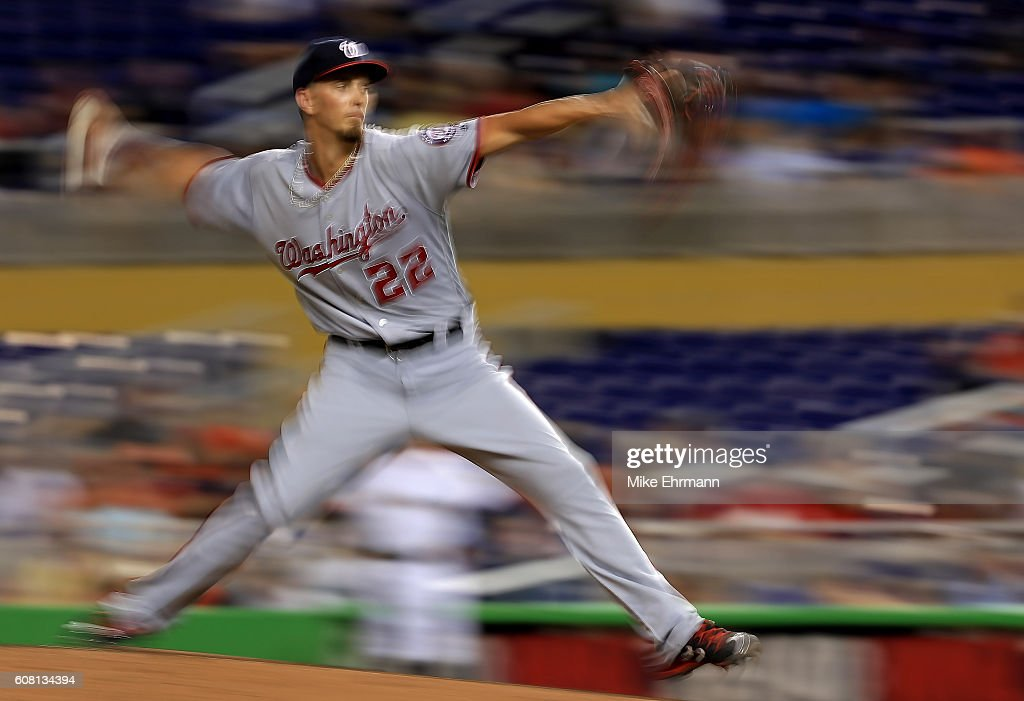 A.J. Cole #22 of the Washington Nationals pitches during a game against the Miami Marlins at Marlins Park on September 19, 2016 in Miami, Florida.