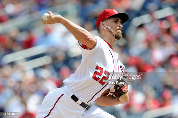 J Cole of the Washington Nationals pitches in the first inning against the Los Angeles Dodgers at Nationals Park on September 16 2017 in Washington DC