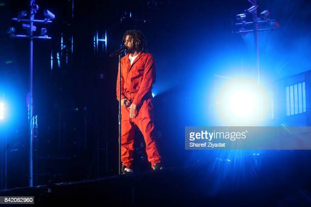J Cole performs at 2017 Made In America Day 1 at Benjamin Franklin Parkway on September 2 2017 in Philadelphia Pennsylvania