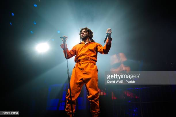 J Cole performs at Le Zenith on October 10 2017 in Paris France