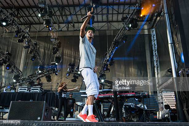J Cole performs at the Bumbershoot Music and Arts Festival on September 1 2014 in Seattle Washington