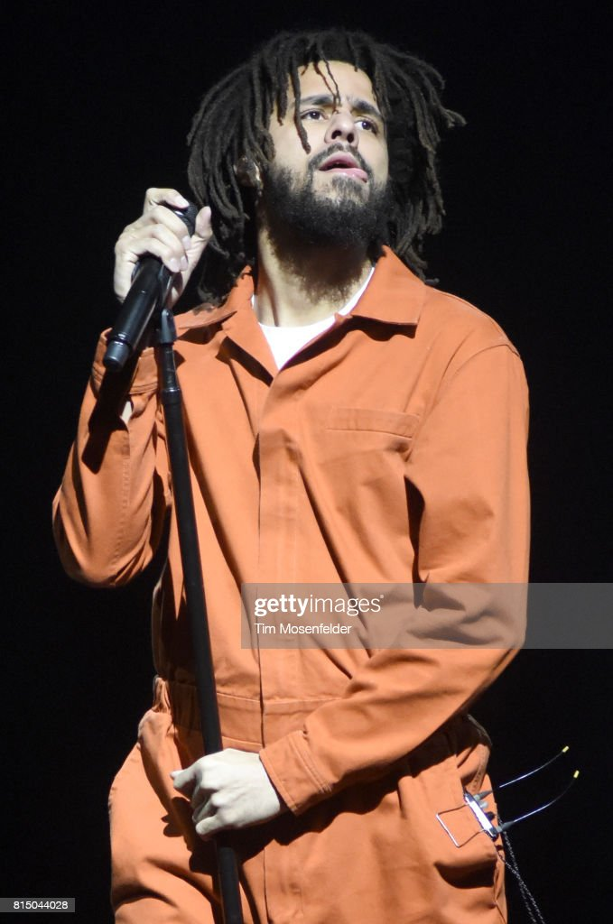 J. Cole performs during hie '4 Your Eyez Only Tour' at ORACLE Arena on July 14, 2017 in Oakland, California.