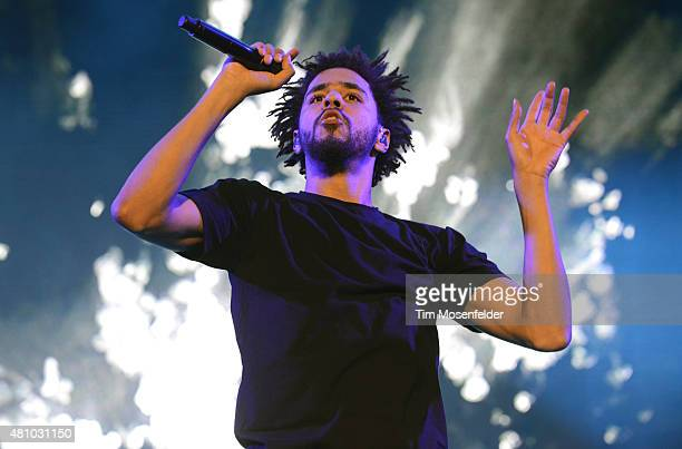 J Cole performs during the Pemberton Music Festival on July 16 2015 in Pemberton Canada