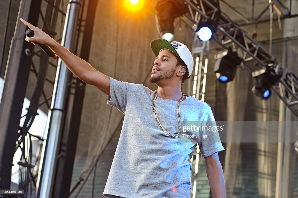 J. Cole performs on day three of the Bumbershoot Music and Arts Festival September 1, 2014 in Seattle, Washington.