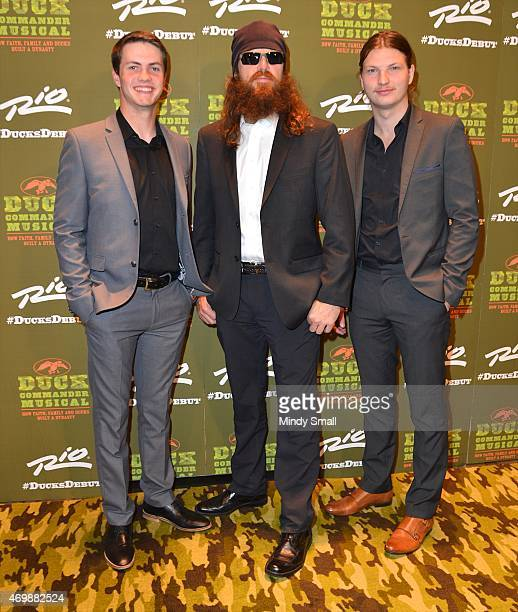 Cole Robertson Jase Robertson and Reed Robertson arrive at the 'Duck Commander Musical' opening night at the Rio Hotel Casino on April 15 2015 in Las...