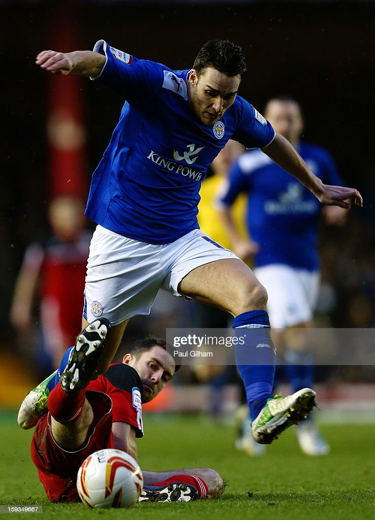 Cole Skuse of Bristol City battles for the ball with Matty James of Leicester City during the npower Championship match between Bristol City and Leicester City at Ashton Gate on January 12, 2013 in Bristol, England.
