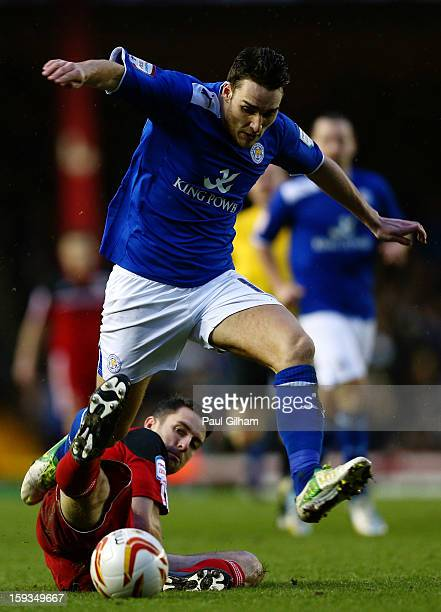 Cole Skuse of Bristol City battles for the ball with Matty James of Leicester City during the npower Championship match between Bristol City and...