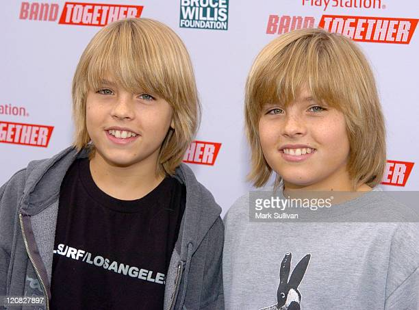 Cole Sprouse and Dylan Sprouse during BANDtogether Presented by PlayStation Arrivals at Smashbox Studios in Culver City California United States