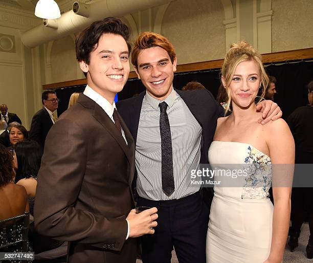 Cole Sprouse KJ Apa and Lili Reinhart backstage before The CW Network's 2016 Upfront at The London Hotel on May 19 2016 in New York City