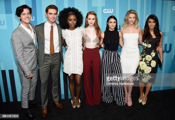 Cole Sprouse KJ Apa Ashleigh Murray Madelaine Petsch Camila Mendes and Marisol Nichols attend the 2017 CW Upfront on May 18 2017 in New York City