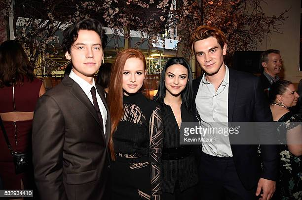 Cole Sprouse Madelaine Petsch Camilla Mendes and KJ Apa attend The CW Network's 2016 Upfront party at Park Avenue Spring on May 19 2016 in New York...
