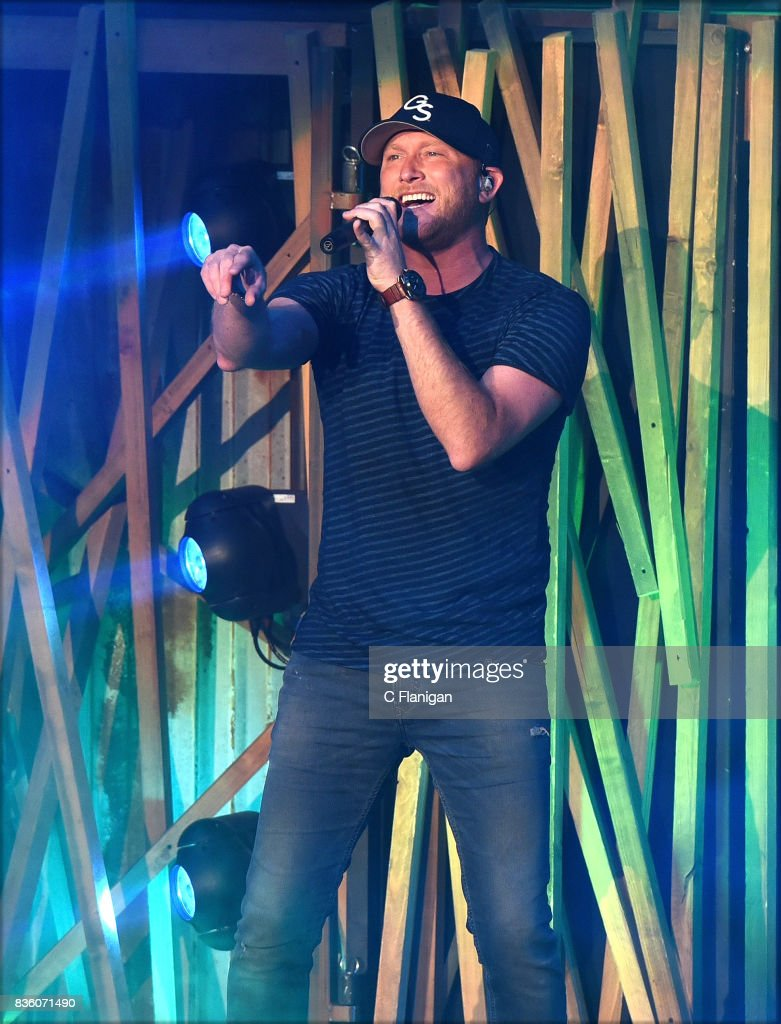 Cole Swindell performs during the 'What The Hell' world tour at Shoreline Amphitheatre on August 20, 2017 in Mountain View, California.