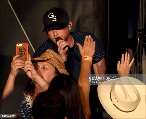 Cole Swindell performs during the 'What The Hell' world tour at Shoreline Amphitheatre on August 20 2017 in Mountain View California