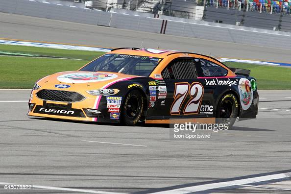 Cole Whitt driver of the Florida Lottery Ford during practice for the NASCAR Monster Energy Cup Series Daytona 500 on February 24 at the Daytona...