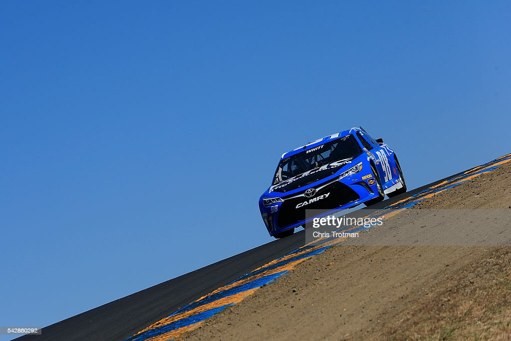 Cole Whitt, driver of the #98 RTIC Toyota, practices for the NASCAR Sprint Cup Series Toyota/Save Mart 350 at Sonoma Raceway on June 24, 2016 in Sonoma, California.