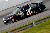 Cole Whitt driver of the Toyota of Scranton Toyota drives during practice for the NASCAR Sprint Cup Series GoBowlingcom 400 at Pocono Raceway on...