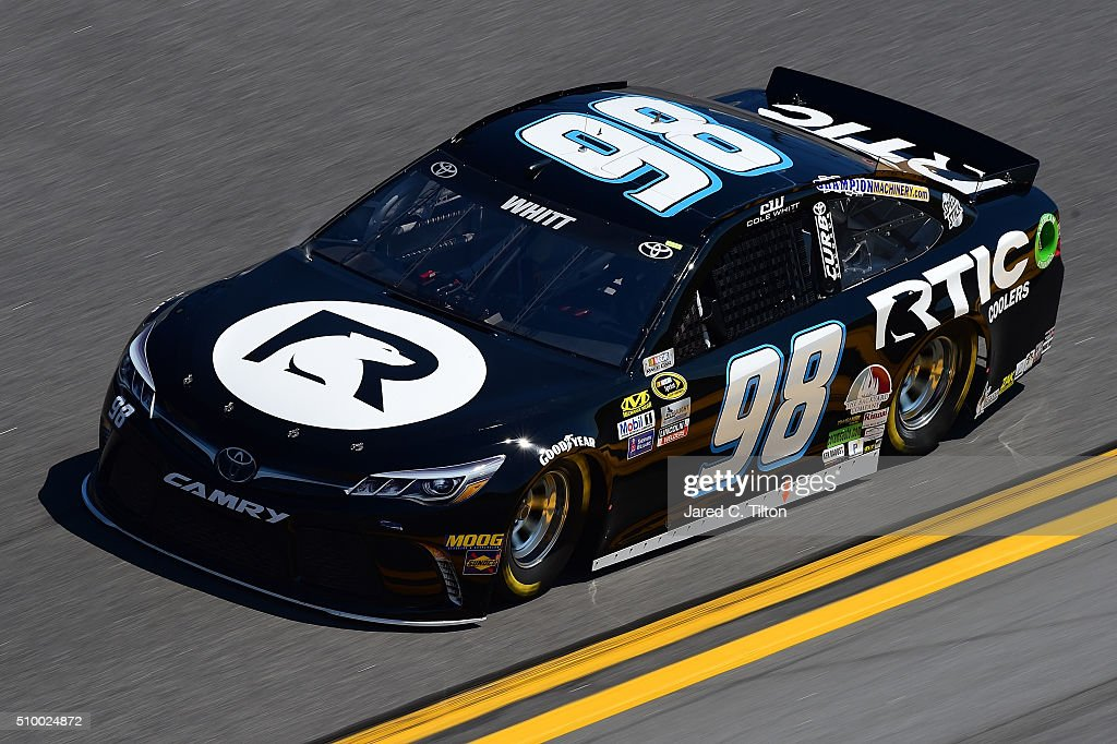 <a gi-track='captionPersonalityLinkClicked' href=/galleries/search?phrase=Cole+Whitt&family=editorial&specificpeople=7046334 ng-click='$event.stopPropagation()'>Cole Whitt</a>, driver of the #98 Toyota, practices for the NASCAR Sprint Cup Series Daytona 500 at Daytona International Speedway on February 13, 2016 in Daytona Beach, Florida.