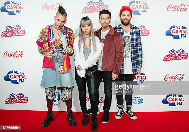 Cole Whitte JinJoo Lee Joe Jonas and Jack Lawless from DNCE attend Capital's Jingle Bell Ball with CocaCola on December 4 2016 in London United...