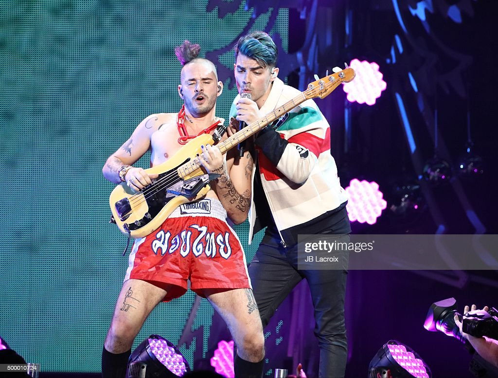 Cole Whittle (L) and Joe Jonas of DNCE perform during the KIIS FM's Jingle Ball 2015 presented by Capital One on December 4, 2015 in Los Angeles, California.