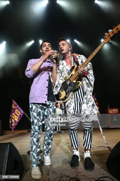 Cole Whittle and Joe Jonas of DNCE perform on stage during the 2017 BLI Summer Jam at Nikon at Jones Beach Theater on June 16 2017 in Wantagh New York