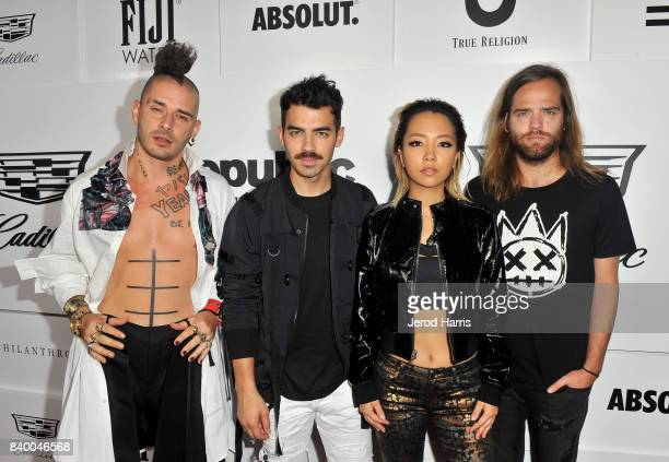 Cole Whittle Joe Jonas JinJoo Lee and Jack Lawless of DNCE attend the VMA after party hosted by Republic Records and Cadillac at TAO restaurant at...
