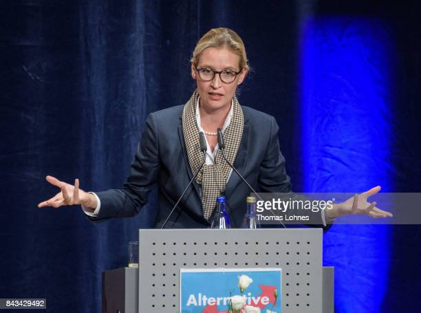 Colead candidate of the rightwing Alternative for Germany political party Alice Weidel speaks during an AfD election campaign event on September 6...