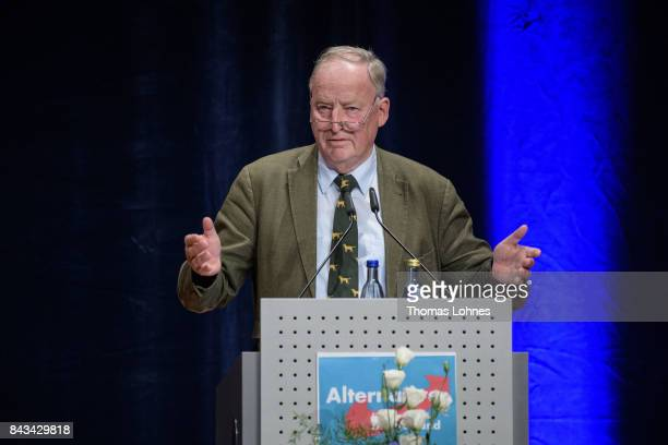 Colead candidate of the rightwing Alternative for Germany political party Alexander Gauland speaks during an AfD election campaign event on September...