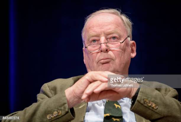 Colead candidate of the rightwing Alternative for Germany political Alexander Gauland attends an AfD election campaign event on September 6 2017 in...