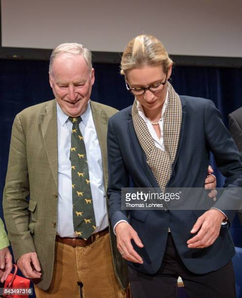 Colead candidates of the rightwing Alternative for Germany political party Alice Weidel and Alexander Gauland attend an AfD election campaign event...