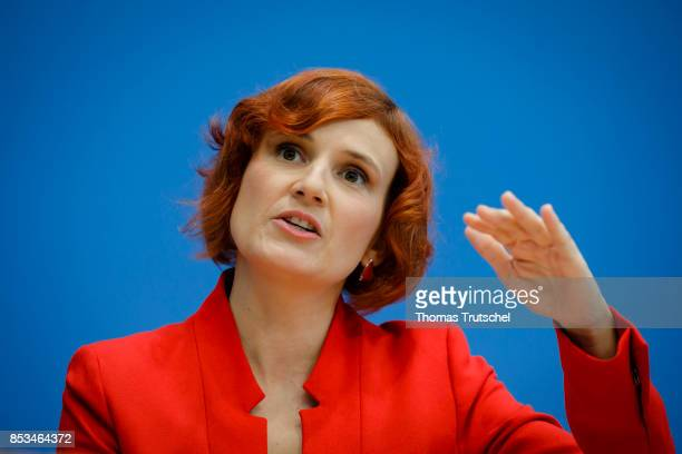 Coleader of Die Linke party Katja Kipping speaks at Bundespressekonferenz on September 25 2017 in Berlin Germany