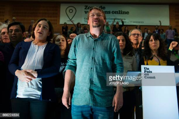 CoLeader of new leftwing party 'Un Pais en Comu' and Mayor of Barcelona Ada Colau and CoLeader of new leftwing party 'Un Pais en Comu' Xavier...