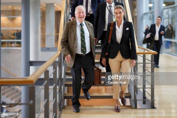 Coleader of the AfD Bundestag faction Alice Weidel and Coleader of the AfD Bundestag faction Alexander Gauland walk to the opening session of the new...