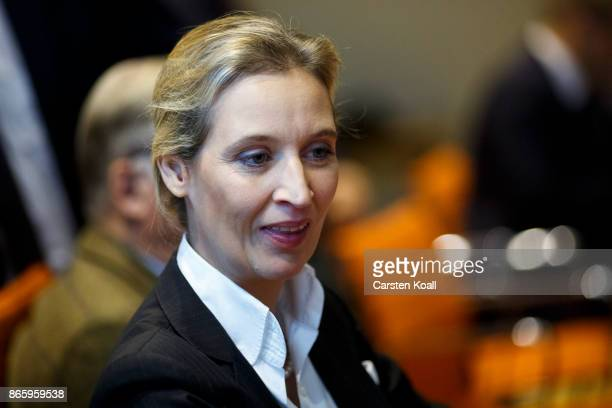 Coleader of the AfD Bundestag faction Alice Weidel attends the Alternative for Germany faction meeting before the opening session of the new...