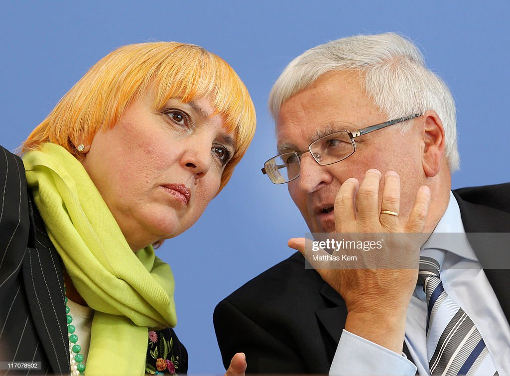 CoLeader of the German Green Party Claudia Roth and the President of the German Football Federation Dr Theo Zwanziger are seen during the Green Goal...