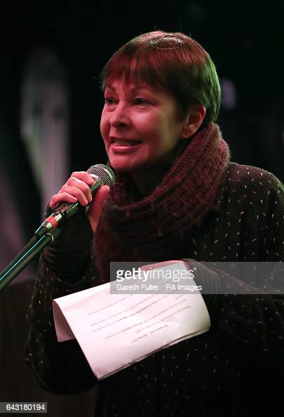 CoLeader of the Green Party Caroline Patricia Lucas MP addresses demonstrators as they attend a rally in Westminster protesting against Donald Trump...