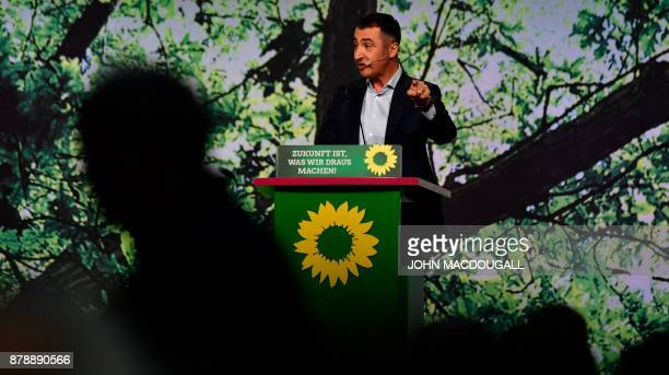 Coleader of the Green party Cem Ozdemir addresses delegates during an extraordinary Green party congress to discuss the collapse of coalition talks...